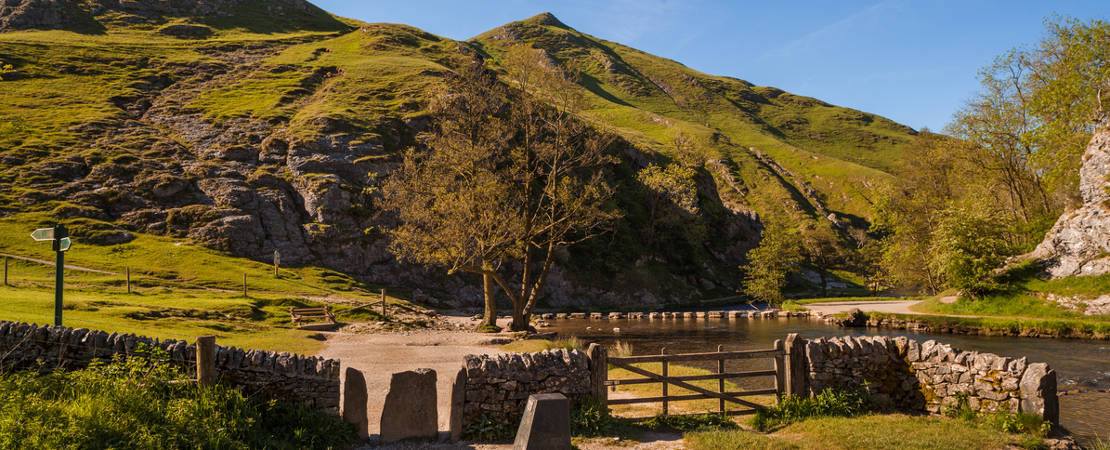 Dovedale and stepping stones early summer