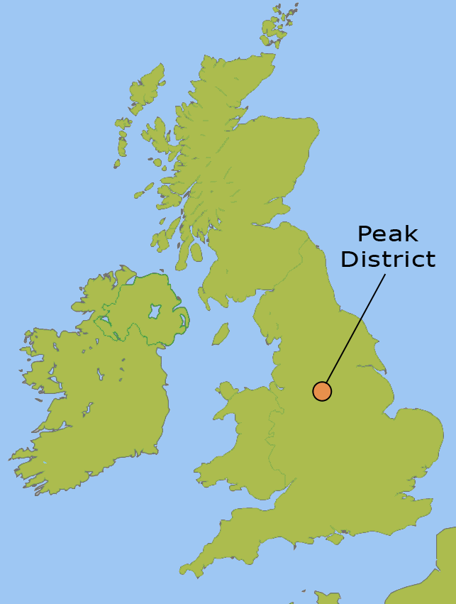 Map to show where in the UK the Peak District is